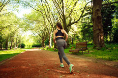 Young woman exercising running in summer park. Young woman exercising running in a summer park Royalty Free Stock Photography
