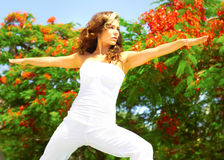Young Woman Exercising On a Sunny Day Stock Images