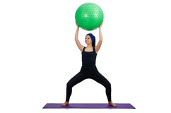 The young woman exercising with swiss ball Royalty Free Stock Photo
