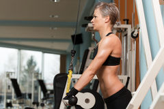 Young Woman Exercising Triceps In Healthy Club Stock Image