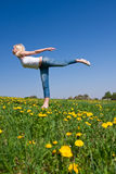 Young woman exercising yoga Stock Images