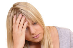 Young woman is exhausted Stock Photo