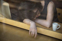 Young woman exhausted Royalty Free Stock Photos