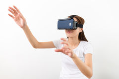 Young Woman experience virtual reality on cellphone Stock Image