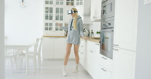 Young woman experiencing VR glasses Royalty Free Stock Photography