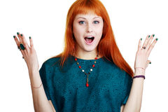 Young woman expressing shock Royalty Free Stock Image