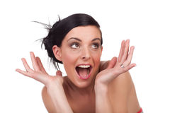 Young woman expression - surprised Royalty Free Stock Photography