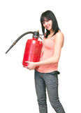 Young woman with extinguisher. The image of young woman with extinguisher on white Stock Photography