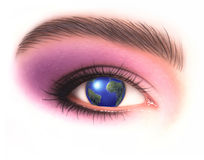 Young Woman eye with earth in place of the iris. Royalty Free Stock Images