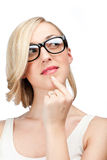 Young Woman in Eye Glasses Thinking Portrait Stock Images