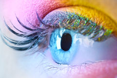 Young woman eye with makeup. Closeup. Vibrant colors Stock Photography