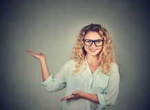 Casual woman making a presentation royalty free stock photography