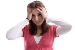 Young woman, eyes closed, having a headache Royalty Free Stock Image