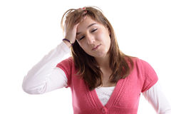 Young woman, eyes closed, having a headache Stock Images