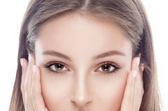 Young woman eyes and nose portrait face with sexy lips Royalty Free Stock Photo