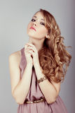 young woman face with beauty hairs Royalty Free Stock Image