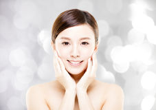 Young  woman face with blur background. Closeup   young  woman face with blur background Royalty Free Stock Images