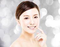 Young  woman face with blur background Royalty Free Stock Photos