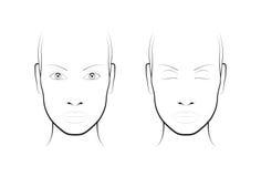 Young woman. Face chart Makeup Artist Blank. Template. Royalty Free Stock Photos