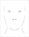 Young woman. Face chart Makeup Artist Blank. Template. Royalty Free Stock Photo