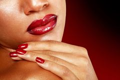 Young woman face detail closeup, mulatto fresh fashion girl with. Vivid red lips. Isolated Royalty Free Stock Photos