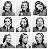 Young woman face expressions composite Royalty Free Stock Images