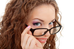Young woman face with glasses close up Royalty Free Stock Photos