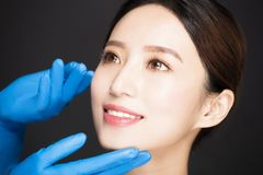 young woman face with medical beauty concept Royalty Free Stock Images