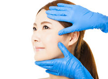 Young   woman face with medical beauty concept Stock Photos
