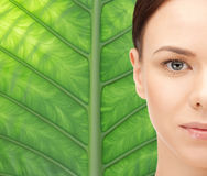 Young woman face over green leaf background Stock Photography