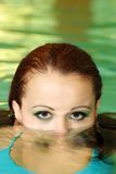 Young woman face part under water Royalty Free Stock Photos