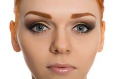 Young woman face with perfect makeup. Young woman beautiful face with perfect makeup Royalty Free Stock Photos