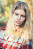 Young Woman Face Portrait Blonde Hair Outdoor Royalty Free Stock Image