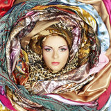 Young woman face with scarves royalty free stock images