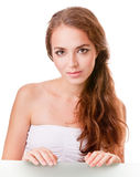 Young woman face on white Stock Images