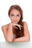 Young woman face on white Stock Photo