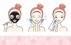 Young Woman With Facial Mask Step Royalty Free Stock Photo