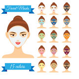 Young woman with facial mask vector illustration Stock Image
