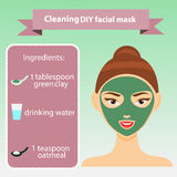 Young woman with facial mask vector illustration. Green clay mask recipe Royalty Free Stock Images