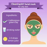 Young woman with facial mask vector illustration. Green clay mask recipe for oily skin Royalty Free Stock Photos