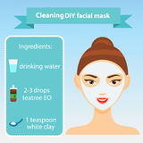 Young woman with facial mask vector illustration. Recipe for oily skin Stock Images