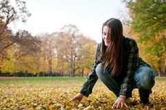 Young woman in fall season Royalty Free Stock Photography