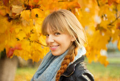 Young woman  and fall yellow maple garden background Stock Image