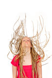 Young woman falling or jumping Royalty Free Stock Photo