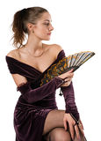 Young woman with fan Stock Photography