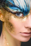 Young woman with fantasy make up. Close up royalty free stock photos