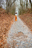 Young woman far outdoors in the autumn park among fallen leaves Royalty Free Stock Photos