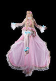 Young woman in fary-tale doll cosplay costume fly Royalty Free Stock Photos