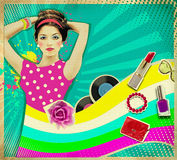 Young woman with fashion accessories on retro poster background Royalty Free Stock Image