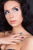Young woman with fashion make-up and manicure Stock Photo